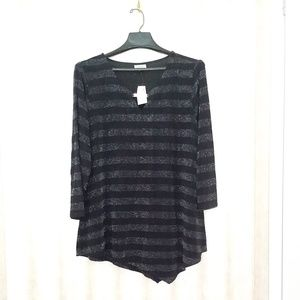 Black Silver Striped with Sparkles Avenue Blouse